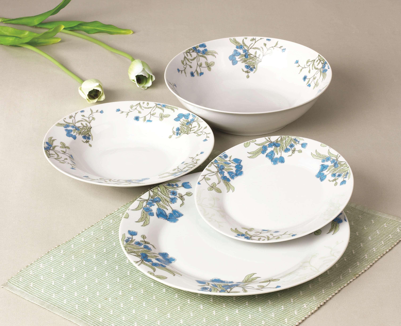 蓝色边花餐具