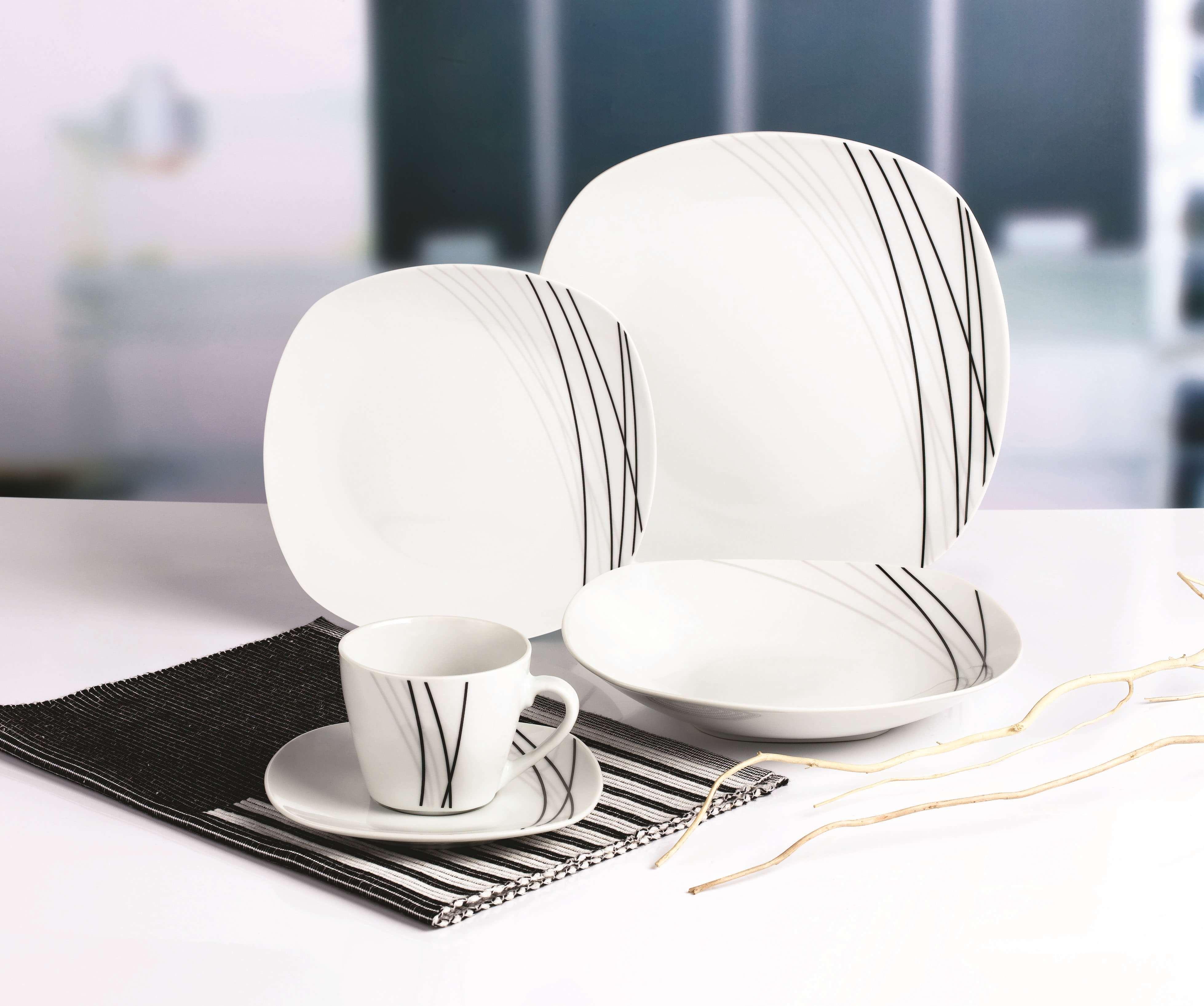 黑色线条方型餐具