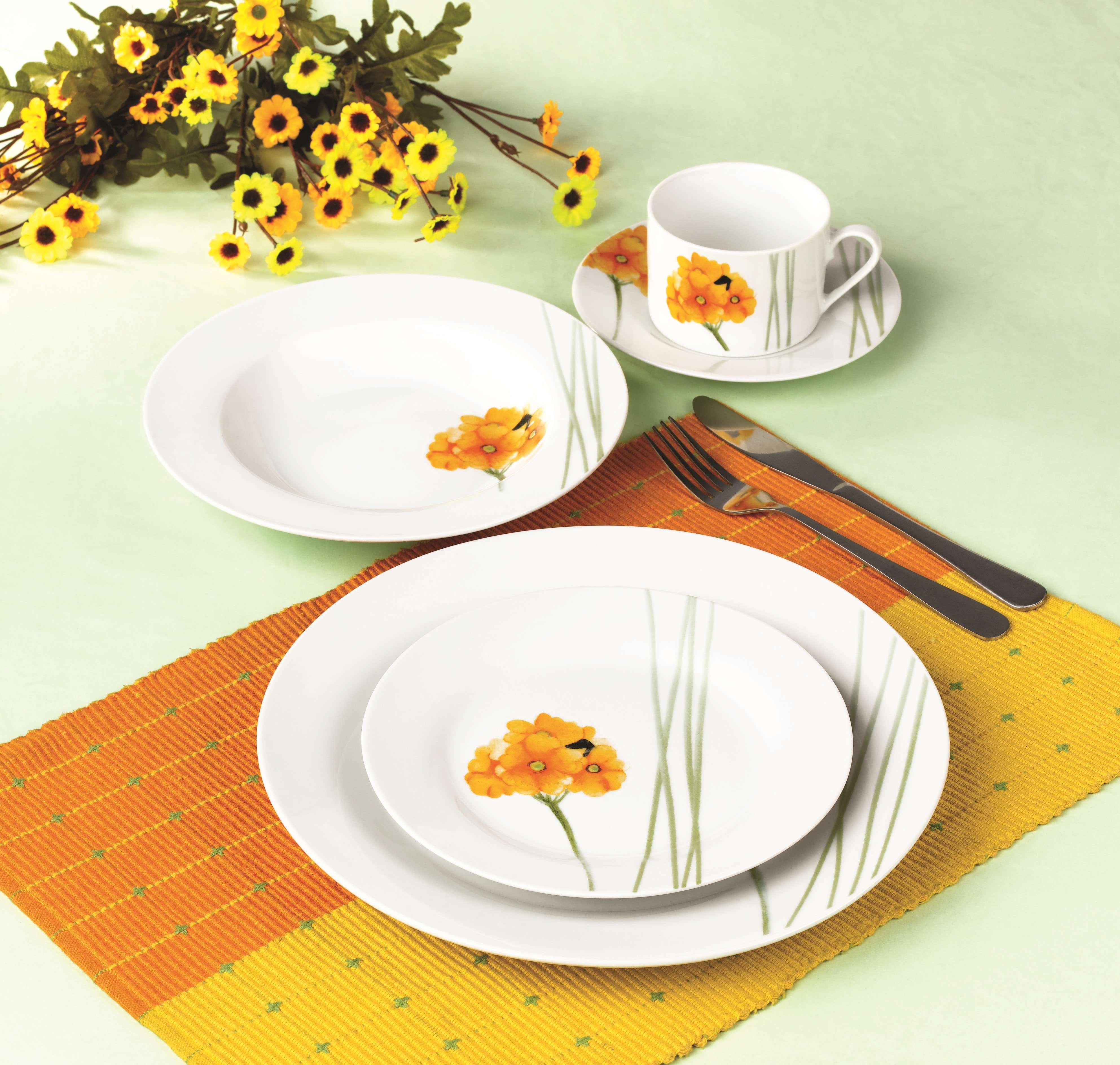 水彩花圆型餐具
