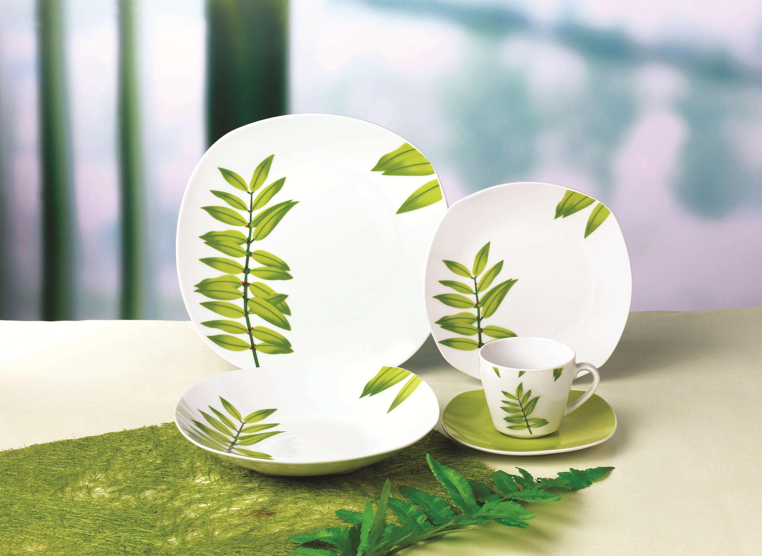 清新小绿叶方型餐具