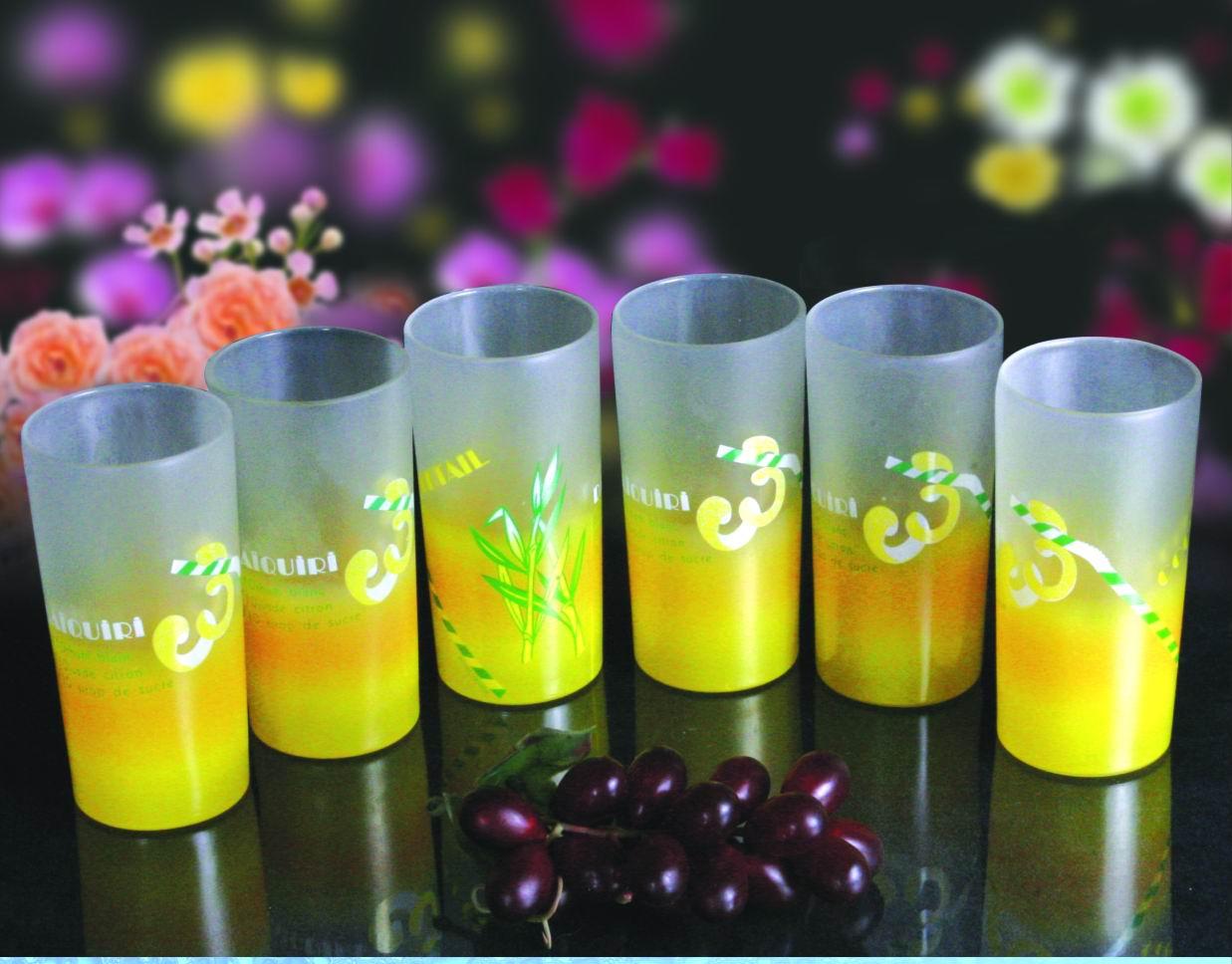 磨砂贴花玻璃杯