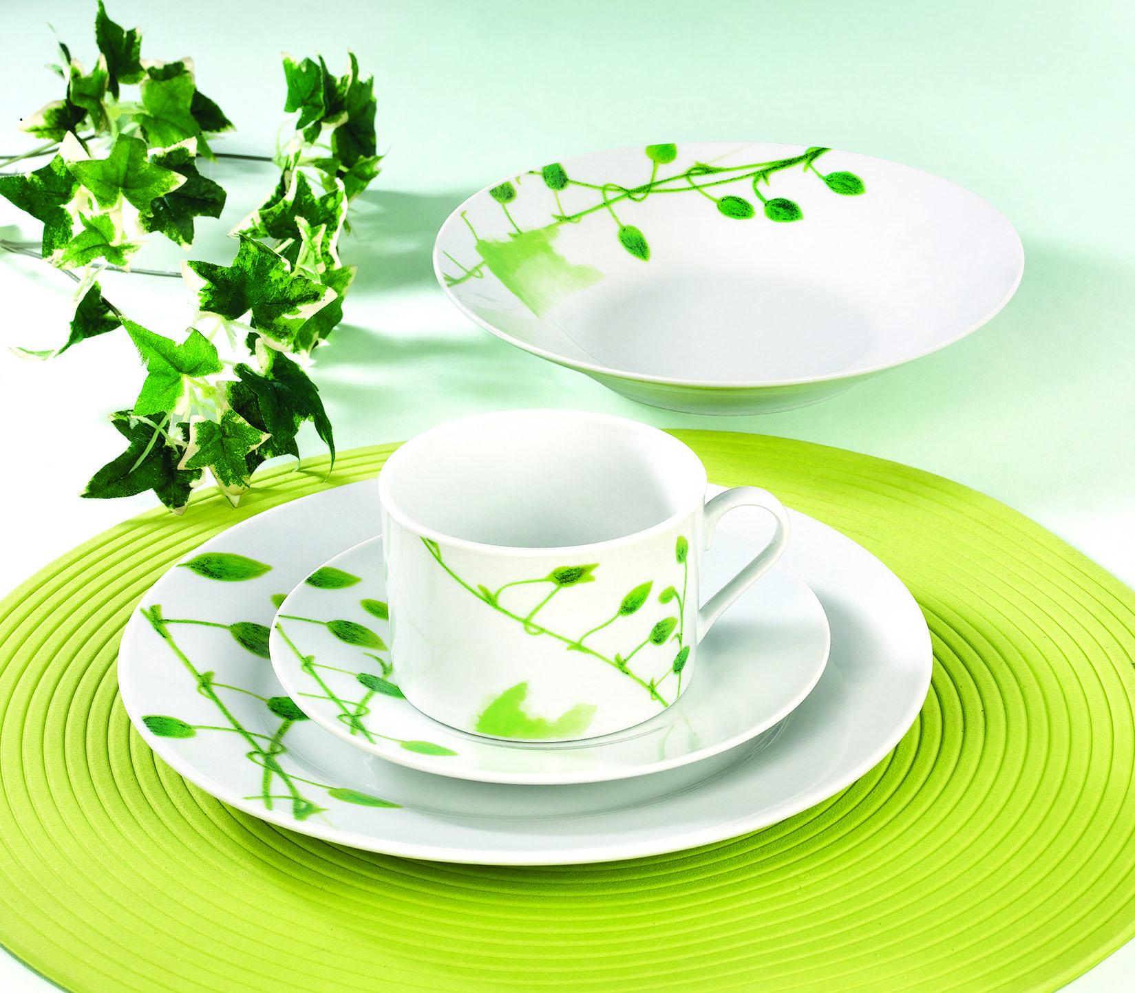 清新小绿叶陶瓷餐具
