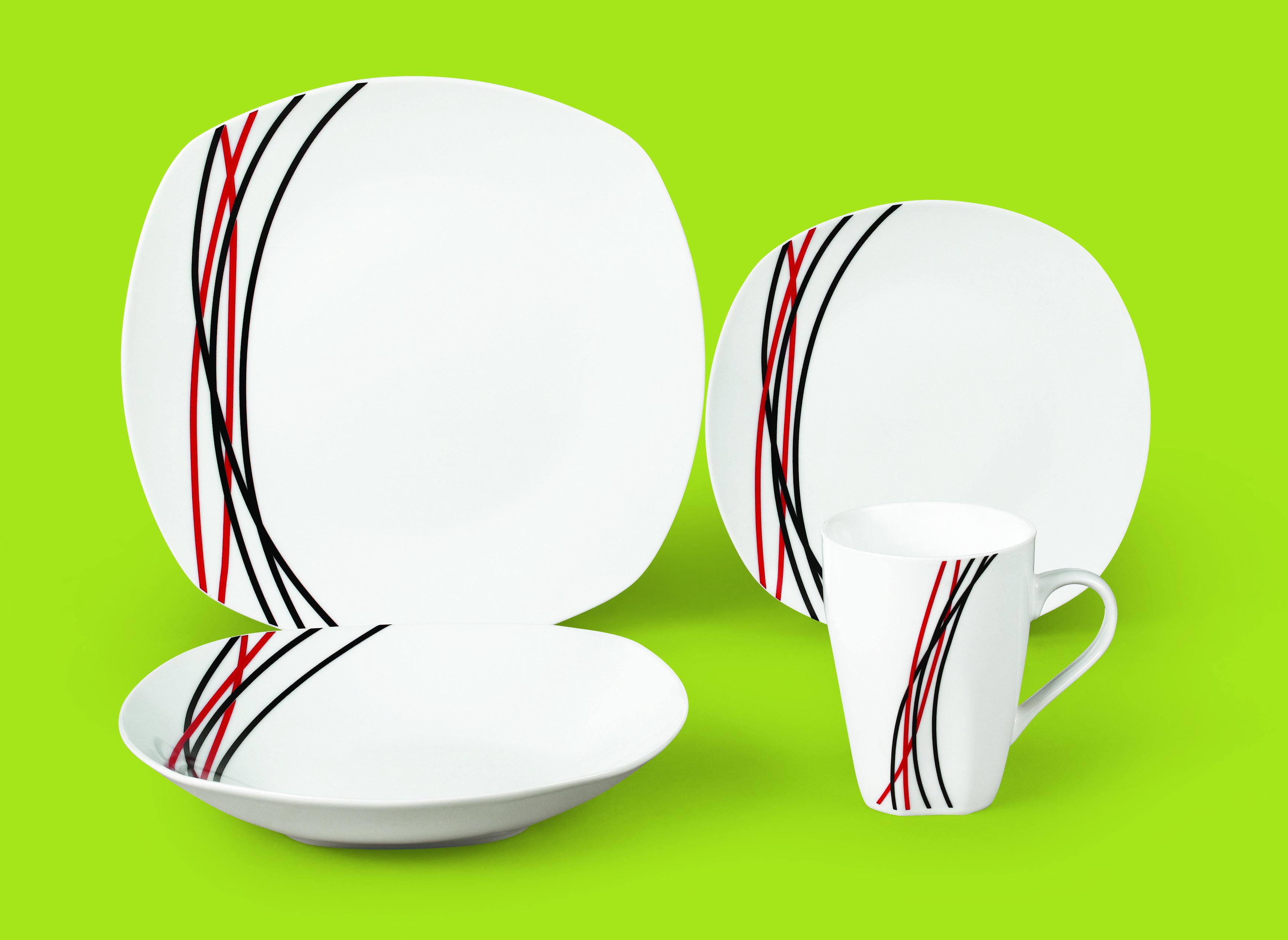 彩色线条陶瓷餐具