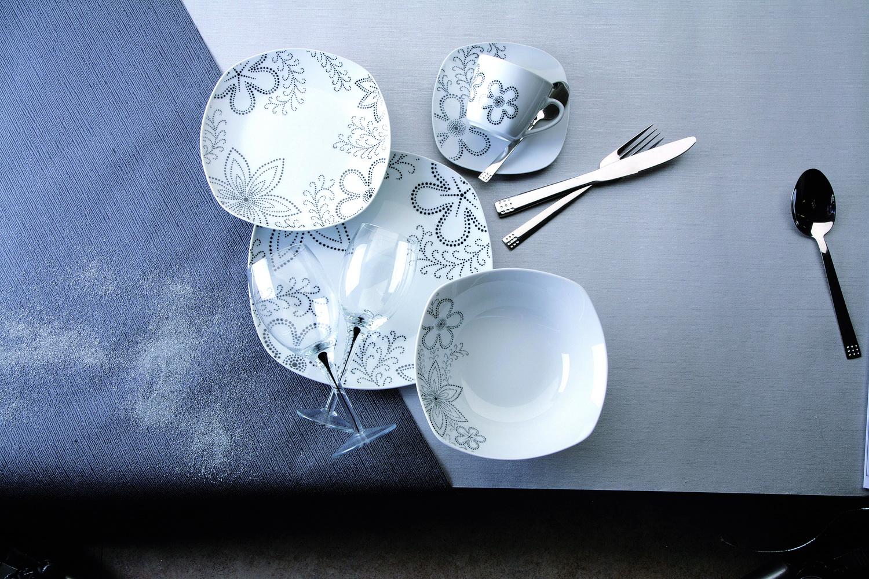 几何朵花方型餐具