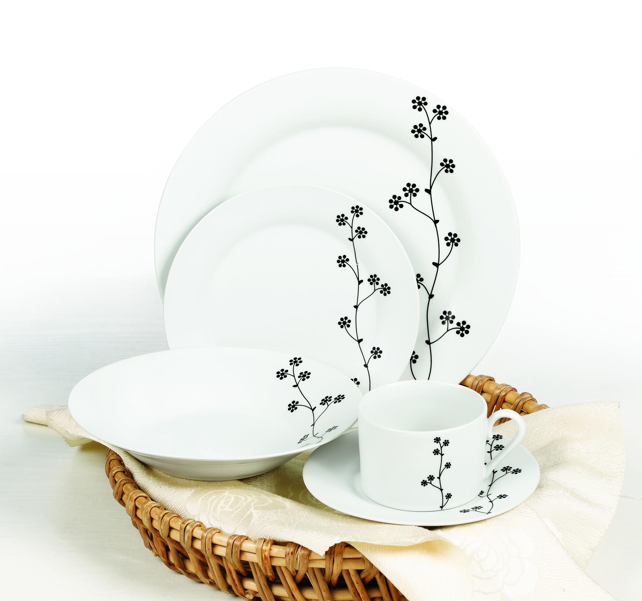 黑色简约花陶瓷餐具