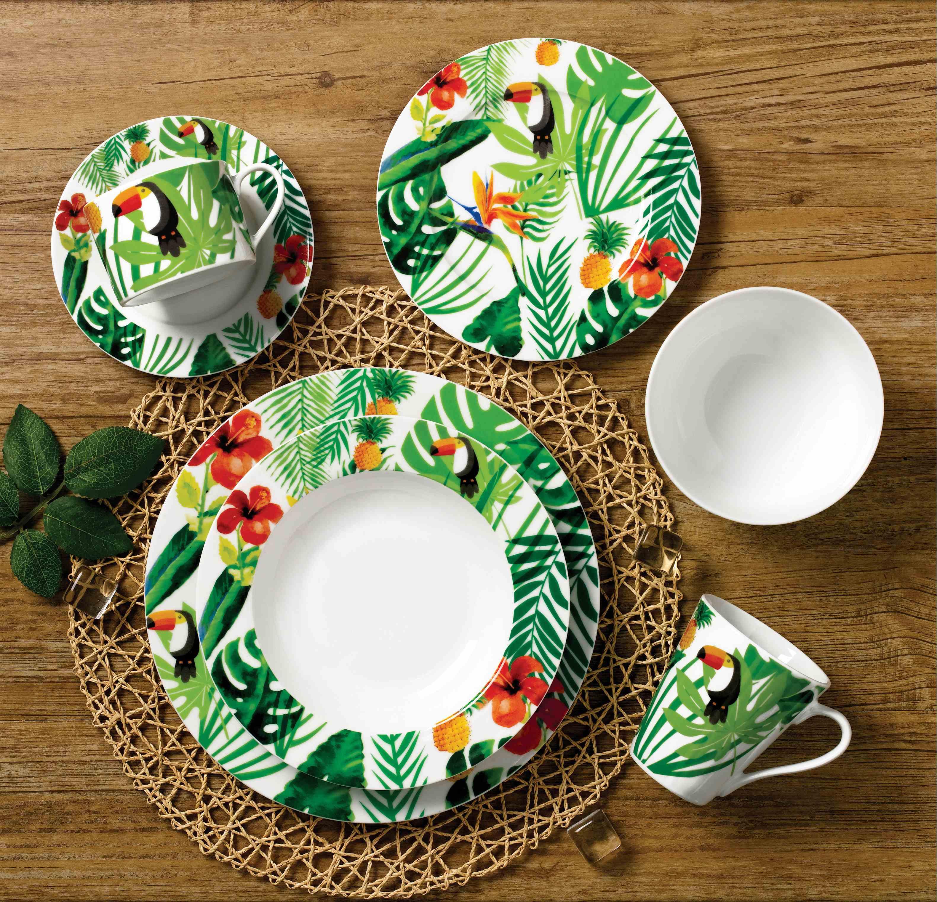 热带雨林大嘴鸟圆型餐具